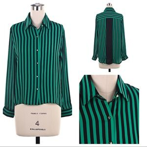 Tops - Vertical Stripe Blouse